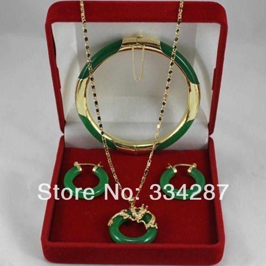 Dernier! Bijoux fantaisie collier jade vert pendentifs, boucles doreilles, bracelets ensemble (pas bon)Dernier! Bijoux fantaisie collier jade vert pendentifs, boucles doreilles, bracelets ensemble (pas bon)