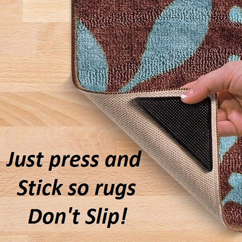 4pcs Rug Carpet Mat Grippers Non Slip Reusable Washable Silicone Grip Home Use For Bathroom