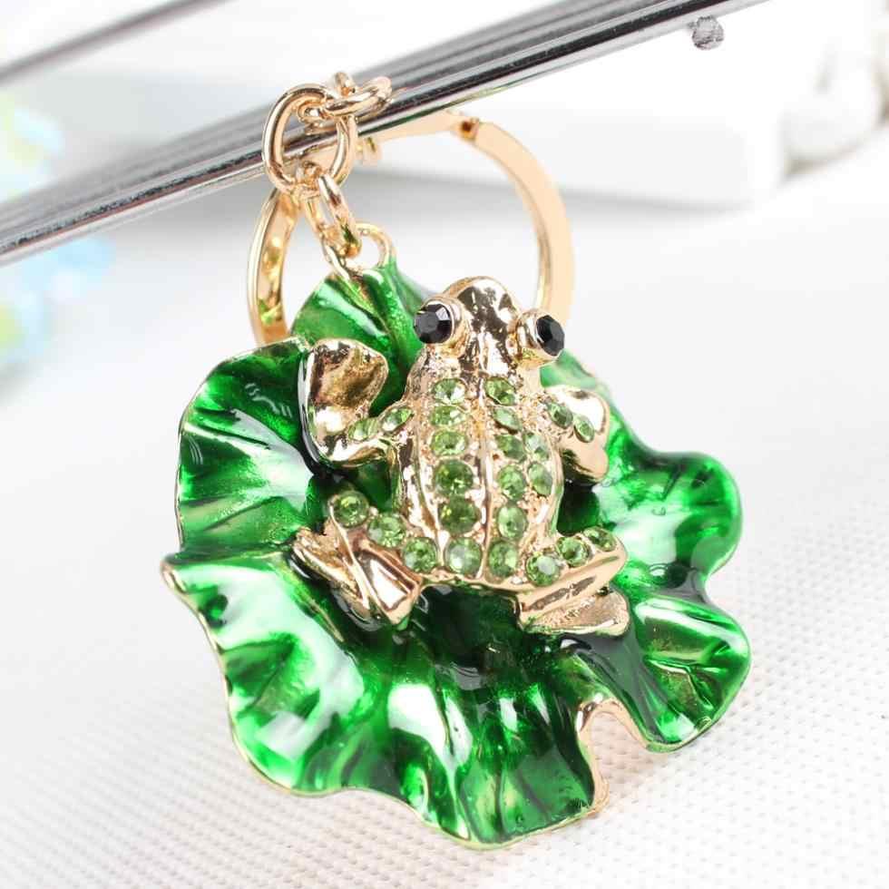 Adorável Sapo Folha de Lótus Verde Cristal Charme Bolsa Da Bolsa Chave Do Carro Chaveiro Chaveiro Presente de Aniversário Festa de Casamento