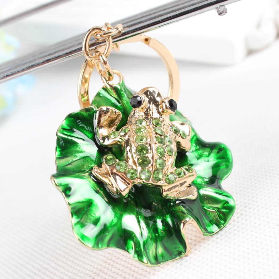 Frosch Grün Lotus Blatt Kristall Anhänger Portemonnaie Taschenanhänger