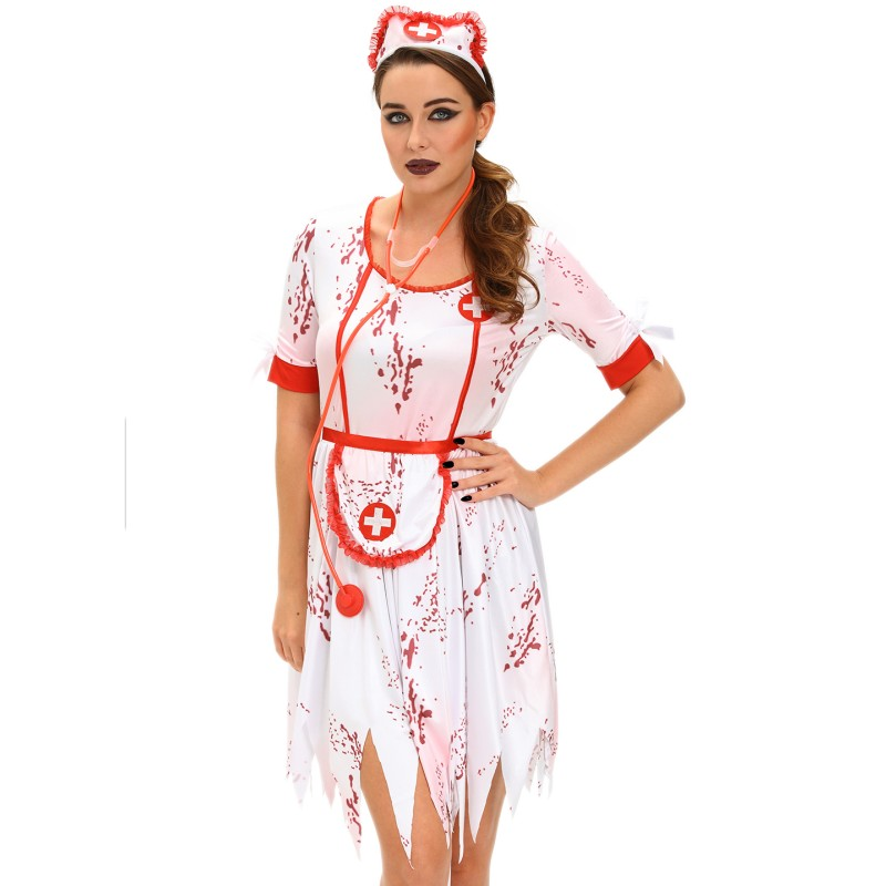 New 2017 horrible zombie nurse costume halloween sexy role play outfits night club clothes nurse halloween dress patterns SA8967