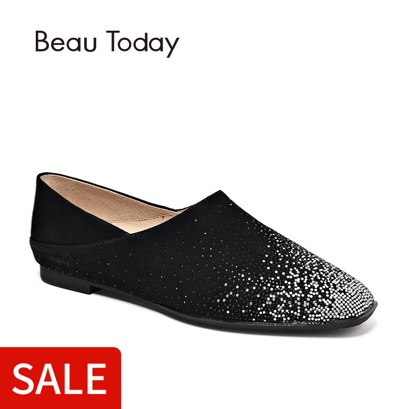 BeauToday Crystal Loafers Kid   Suede   Genuine   Leather   Top Brand Square Toe High Quality Female Shoes 24024