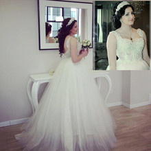 Princess Pearls Sweetheart Wedding Dresses 2017 Puffy Tulle Backless Long Wedding Bridal Gown Engagement Dress for Bride WD-35