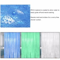 PEVA 3D Waterproof Translucence Thicken Plaid Resists Mold Mildew Bathing Shower Bathroom Curtain 180 200cm With