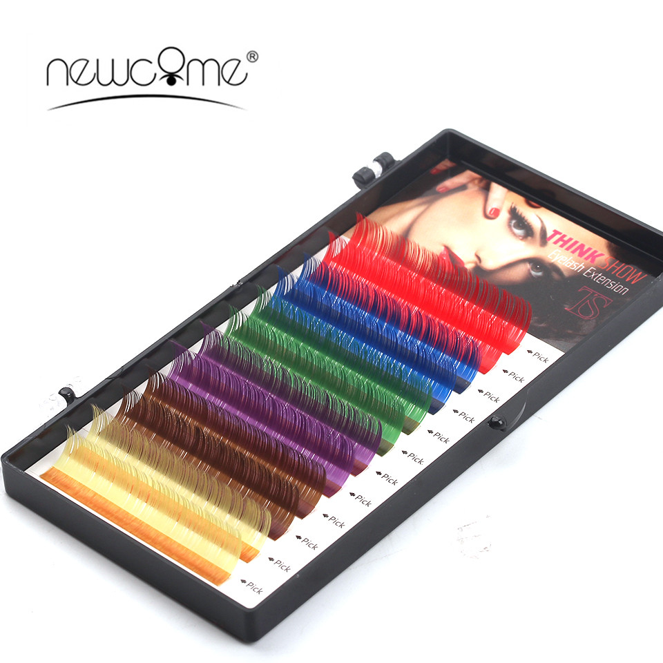 NEWCOME 12 Rows Rainbow Color C D Curl Colorful False Eyelash Extensions Synthetic Fiber ...