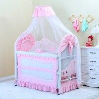 Складной новая детская кроватка детская кровать с москитной сеткой коврик комплект Портативный складные кроватки с Многофункциональный н