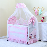 Foldable New Baby Crib Baby Bed With Mosquito Net Mat Set Portable Folding Crib With Multifunctional Newborn Sleep Bed Newest