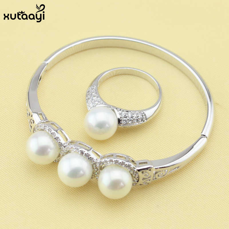 Fashion 925 Silver Overlay For Women,  Imitation Pearl Jewelry Set White Crystal Bracelets Rings