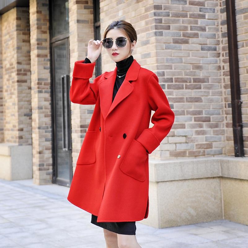 Manteau Et Nouveau D'hiver Pardessus dark Femmes Double Automne Longue Red Couture Laine Lainages Cachemire Pur De camel Femelle Main Survêtement Blue qxpxg15z