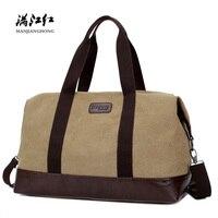 Vintage Large Canvas Men Travel Duffle Bags Waterproof Patchwork Leather Shoulder Travel Bags Men Casual Travel Luggage Bag 1316