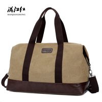 Vintage Large Canvas Men Travel Duffle Bags Waterproof Patchwork Leather Shoulder Travel Bags Men Casual Travel Luggage Bag 1316