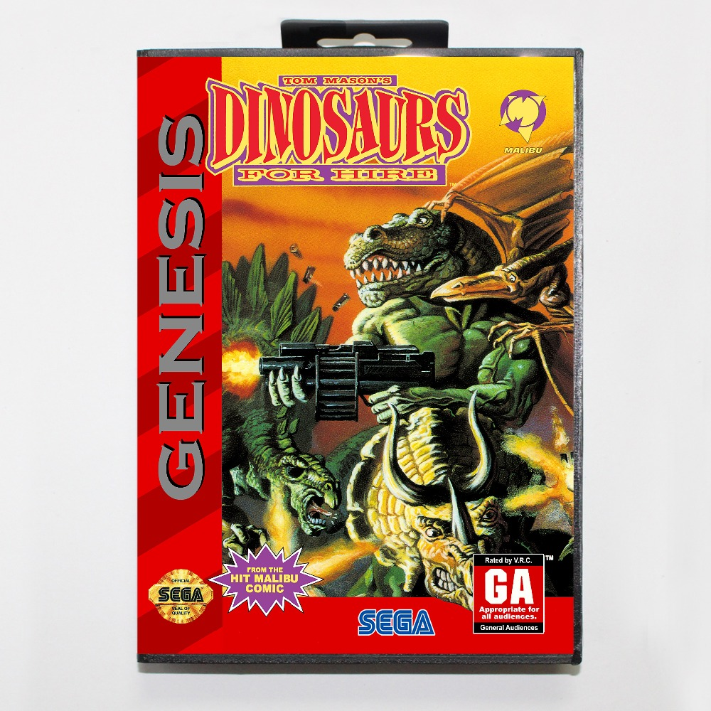 New 16 bit MD game card - dinosaurs for hire with Retail box For Sega genesis system