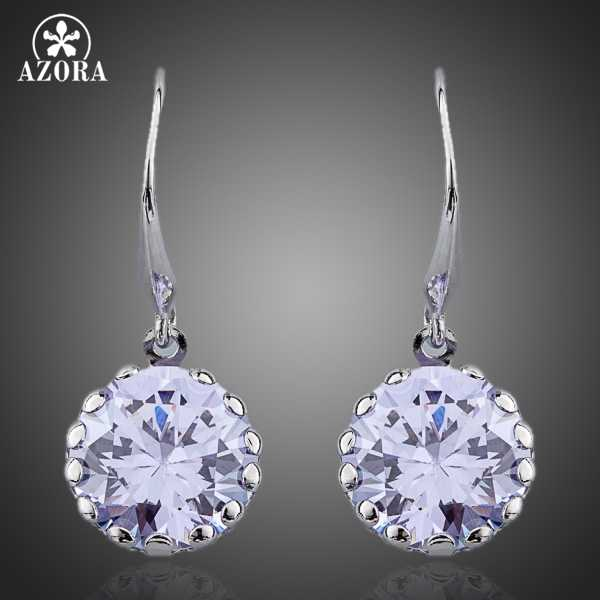 AZORA White Gold Color Round Cubic Zirconia Elegant Drop Earring TE0089