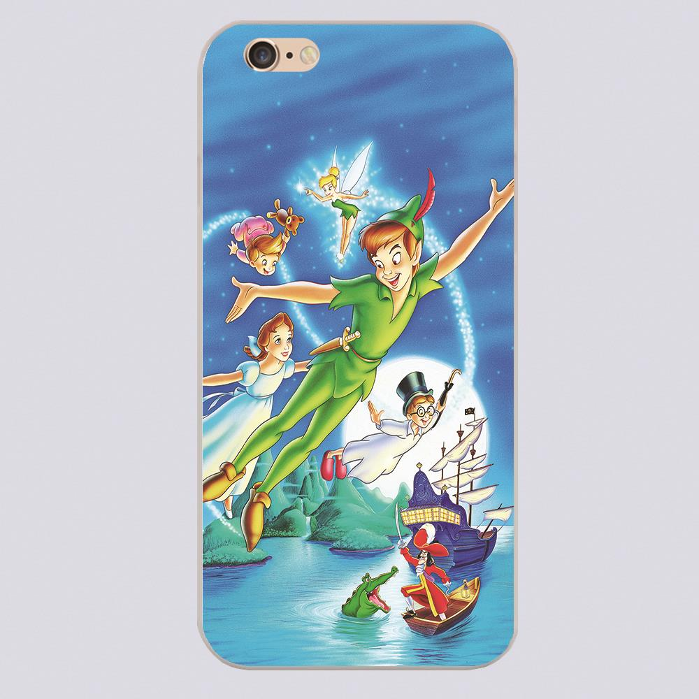 DISNY PETER PAN POSTER Design black skin phone cover cases for iphone 4 5 5c 5s 6 6s 6plus Hard Shell