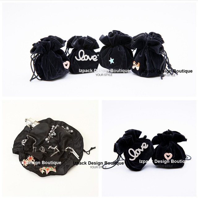 Wholesale 10pcs Cute Black Velvet Drawstring Travel Jewellery