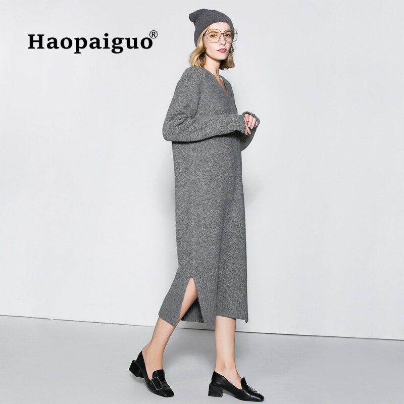 Gris Tricot Casual Robe Femmes V-cou À Manches Longues Lâche Robe Longue Élégant Solide Split Pull Dames Robes Robe Longo