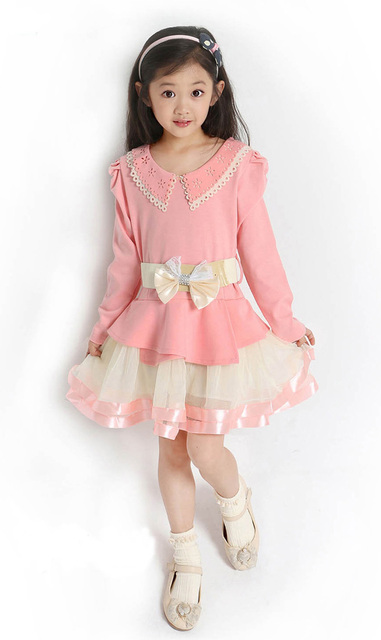Autumn Kids Girl Party Dresses 2016 Brand Lace Design Girl Kids Party Dress Autumn Fashion Belt Toddler Princess Dress For Girl