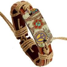 Paix Vague Boho cadeau conception fleur Punk bracelet mode Vintage en cuir véritable tissé femmes Bracelets hommes bijoux accessoires