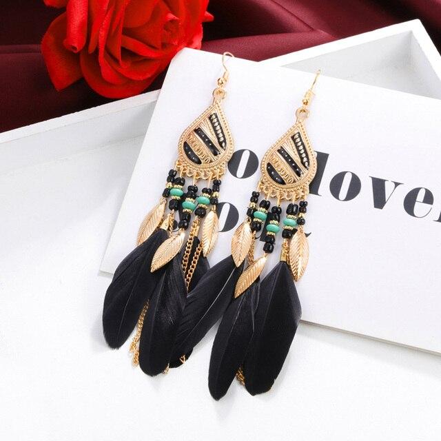 ZOSHI Bohemian Tassel Earrings for Women Dangle Long Earrings Feather Boho Drop Earrings Seed Beads Vintage Jewelry Brincos 3
