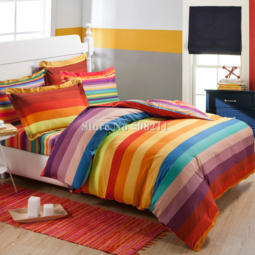 Free Shipping Bedding Set 100 Cotton Rainbow Color Stripe