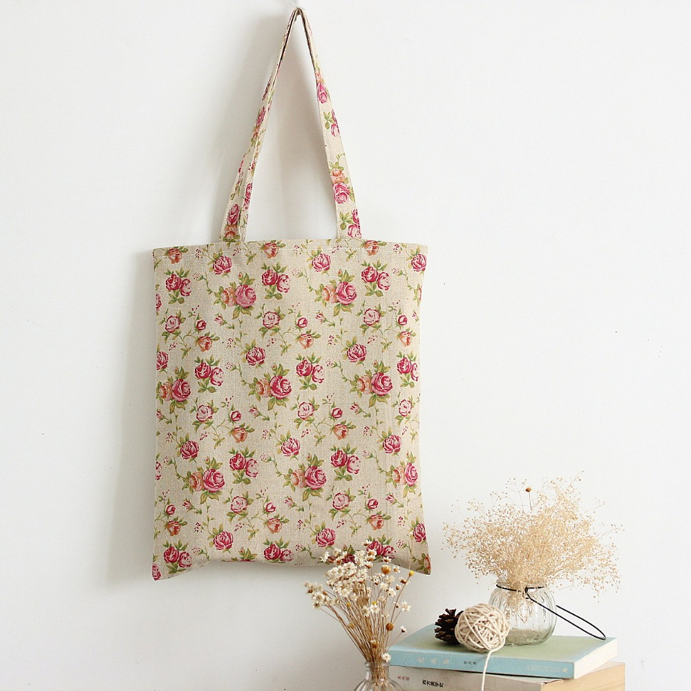 YILE Handmade Cotton Linen Eco Reusable Shopping Shoulder Bag Tote Rose Flower L149