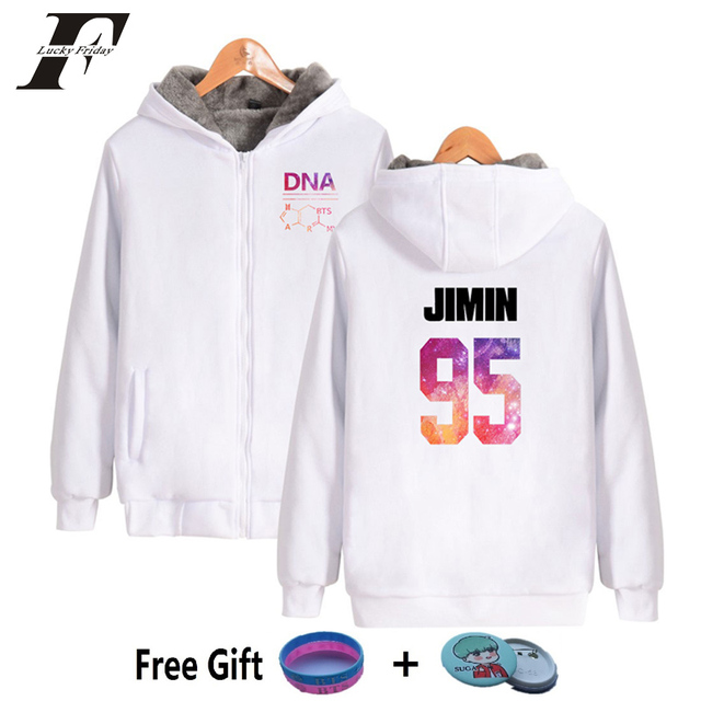 36205f98a7be7 LUCKYFRIDAYF 2018 BTS kpop DNA cotton zipper oversized hoodies sweatshirts  women clothes winter jackets coats korean tracksuit