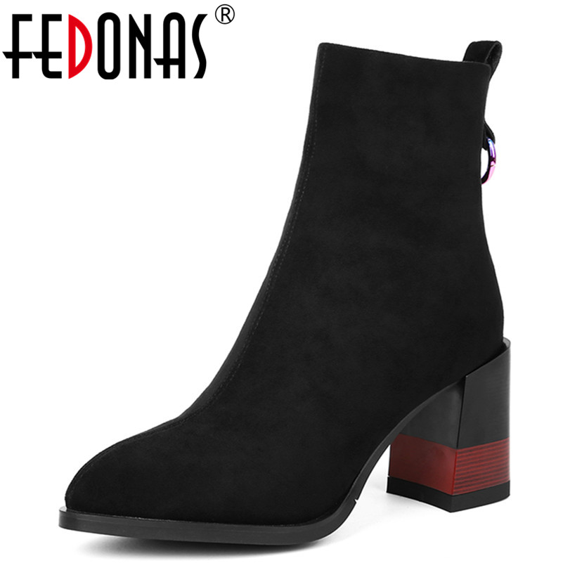 FEDONAS Women's Ankle Boots Pointed Toe Elastic Thick Heel High Heels Autumn Winter Shoes Woman Female Socks Boots 2018 New xiuningyan women s boots round toe elastic ankle boots thick heel high heel shoe woman female fashion stretch socks boots winter