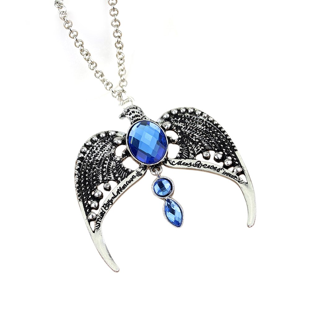 Movie Magic Eagle Pendant Ravenclaws diadem necklace for men women blue crystal wisdom fine vintage jewelry
