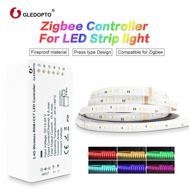 Zigbee Zll link inteligente ZIGBEE Kit Conjunto de Tira CONDUZIDA rgb + cct controlador para RGB + CCT tira luz à prova d' água trabalhar com alexa smartthing