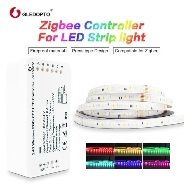 GLEDOPTO ZigBee Licht Link Smart LED Streifen Kit RGBCCT Streifen Controller für LED Streifen Licht Arbeit mit Echo Plus Alexa smartthings