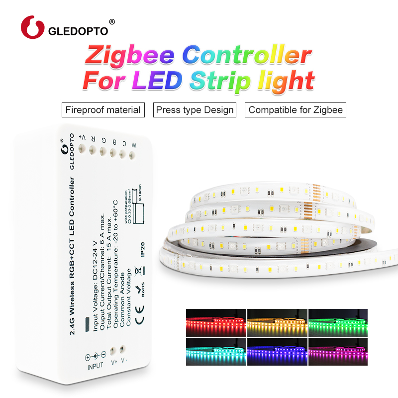 zigbee Zll link smart LED Strip Set Kit rgb+cct ZIGBEE controller for RGB+CCT waterproof strip light work with alexa smartthing