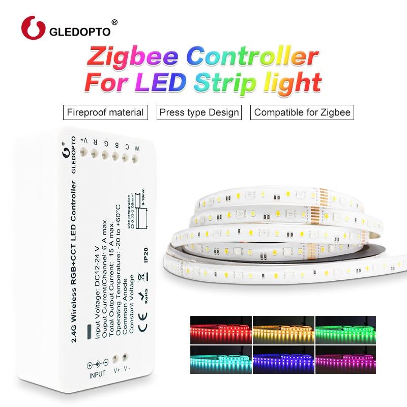 zigbee Zll link smart LED Strip Set Kit rgb+cct ZIGBEE controller for RGB+CCT waterproof strip light work with alexa smartthing(China)