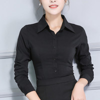 Ladies Cotton Stretch Shirt Black Button Down Shirts Women Long Sleeve Spring Autumn Plus Size Women
