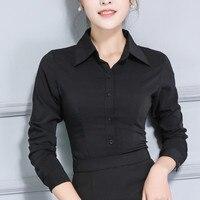 Ladies Cotton Stretch Shirt Black Button Down Shirts Women Long Sleeve Spring Autumn Plus Size Women