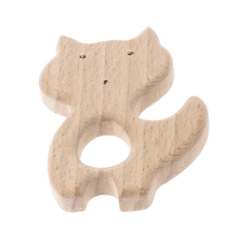 Baby Wooden Teething Relief Toy Nature Organic Polar Bear Nursing Holder Teether Cloud Fox Flower