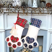OurWarm 5pcs Pet Christmas Stocking Dog Paw Plaid Animal X-mas for Kids Candy Bag Gifts 2018 New Year