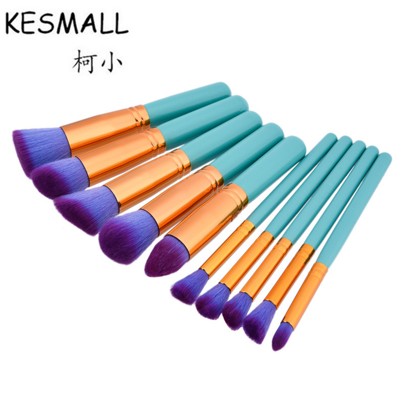 KESMALL 10PCS Professional Makeup Brush Set Brushes Soft Synthetic Hair Wood Handle Make up Brush Kit Cosmetic Beauty Tool CO428 1pc adapter pl259 uhf plug male nickel plating to bnc female jack nickel plating rf connector straight vc668 p0 5