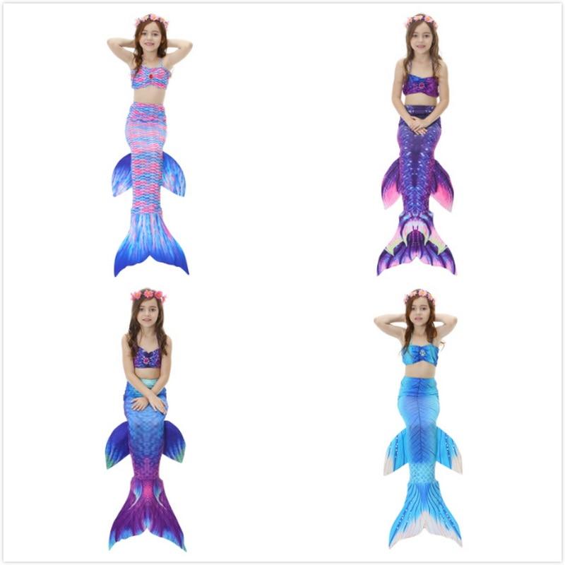 2-12Y dekleta morska deklica rep princesa obleko z Garland otrokom - Karnevalski kostumi