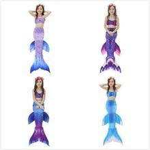 2-12Y Girls Mermaid Tail Princess Dress Dengan Garland Children Split Simulation Mermaid Swimwear Bathing Suit Cosplay Costumes