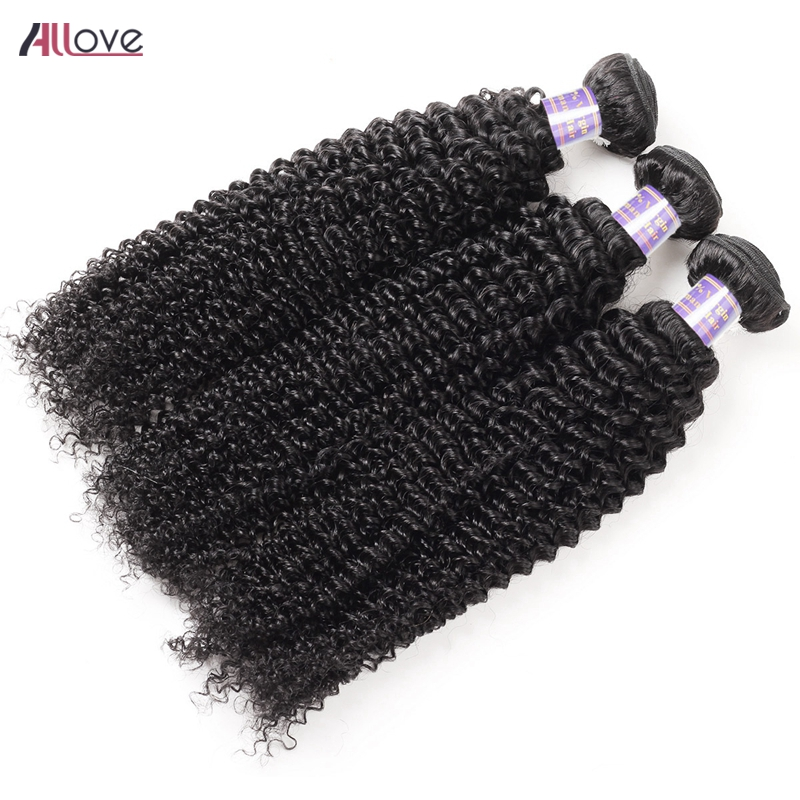 Allove Mongolian Kinky Curly Hair Bundles 100% Remy Human Hair Weaving Bundles Machine Double Weft Nature Color Hair Extensions