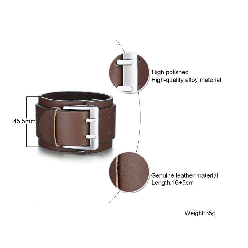 Men's Retro Wide  Double Leather Bracelets Punk Exaggerated Big Buckle Bracelet in Brown Adjustable Wristband Mens Jewelry