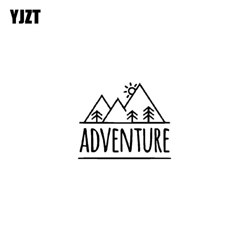 YJZT 17.8CM*14.8CM ADVENTURE MOUNTAINS Vinyl Motorcycle  Black Silver Car Sticker Decals C13-000424