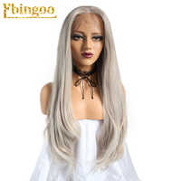 Ebingoo High Temperature Fiber 360 Frontal Long Natural Wave Silver Grey Synthetic Lace Front Wig For Women With Middle Part