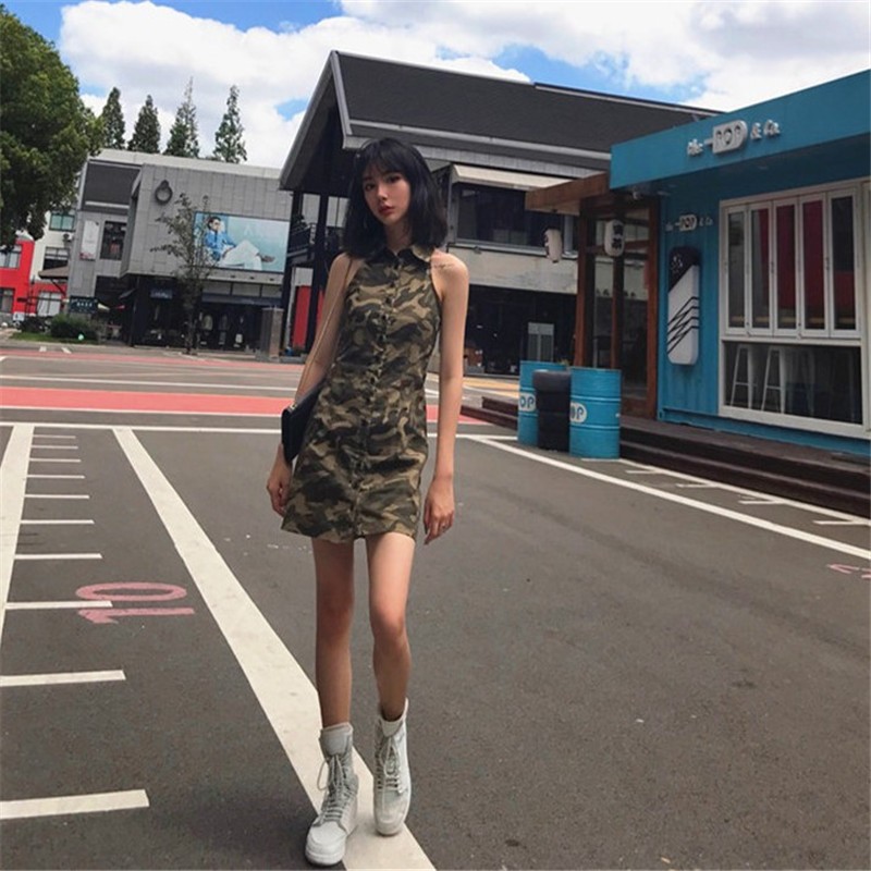 Women s Clothing harajuku Summer dress New Sexy Hip Hop Cool BF camouflage  Turn-down Collar 852946803589