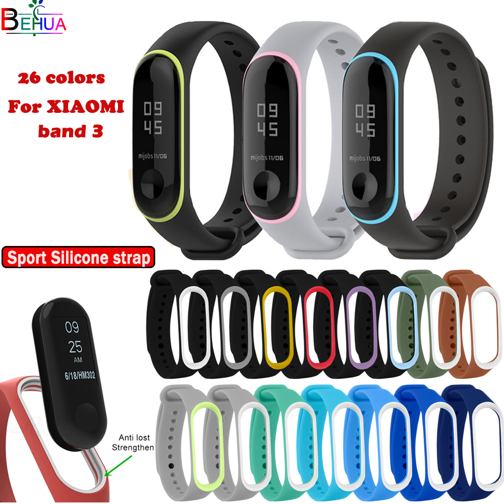 Sport Silicone Fitness Watchband Bracelet For Xiaomi Mi Band 3 Smart Watch Replacement Fashion Comfortable Strap For Mi Band 3