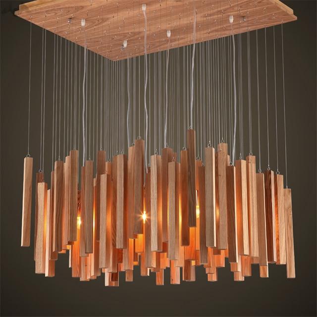 2017 de luxe moderne en bois meteor pluie lustre designer art salle à manger simple en