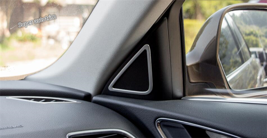 For Audi Q3 2013 - 2017 Stainless Steel More Fashion A Pillar Stereo Speaker Audio Loudspeaker Cover Trim 2 Pcs