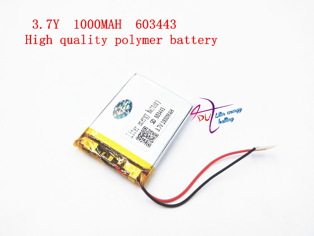 Factory direct audio, navigation , power tools dedicated polymer battery 3.7v 603443 1000mAh Liter energy battery