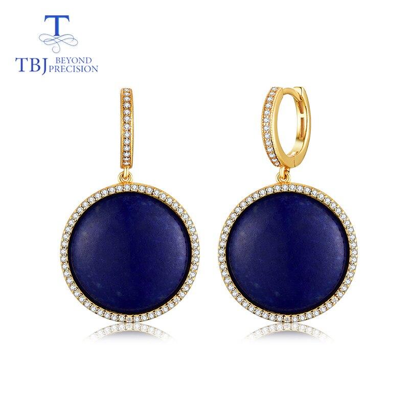 TBJ, élégant naturel Lapis fermoir boucle d'oreille pour les femmes 925 en argent sterling or jaune bijoux fins pour femme beau cadeau