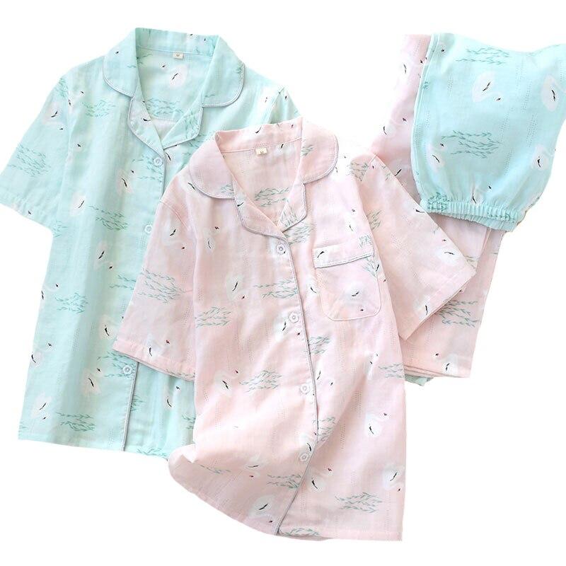 2019 Spring New Ladies Sleepwear 100% Gauze Cotton Swan Printed   Pajamas     Set   Short Sleeve+Long Pants 2Piece   Set   Comfort Homewear